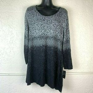 NEW Style & Co Sweater 3X Black Print Knit Tunic